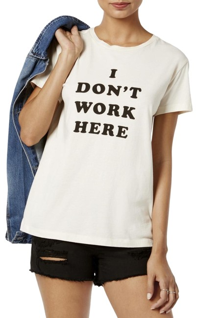 Item - Graph Cream Jersey L Womens I Don't Work Here Graphic T-shirt Ivory Tee Shirt Size 14 (L)