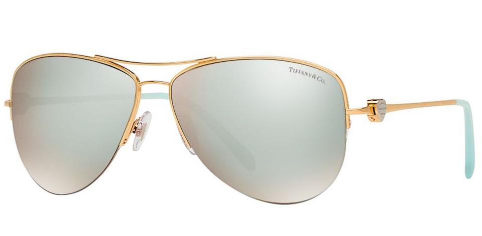 c09afca6e6a9 Tiffany   Co. Gold Blue Tf 3021 Tf3021 Aviator Return To Heart Lock Metal  Wire Mirror Sunglasses