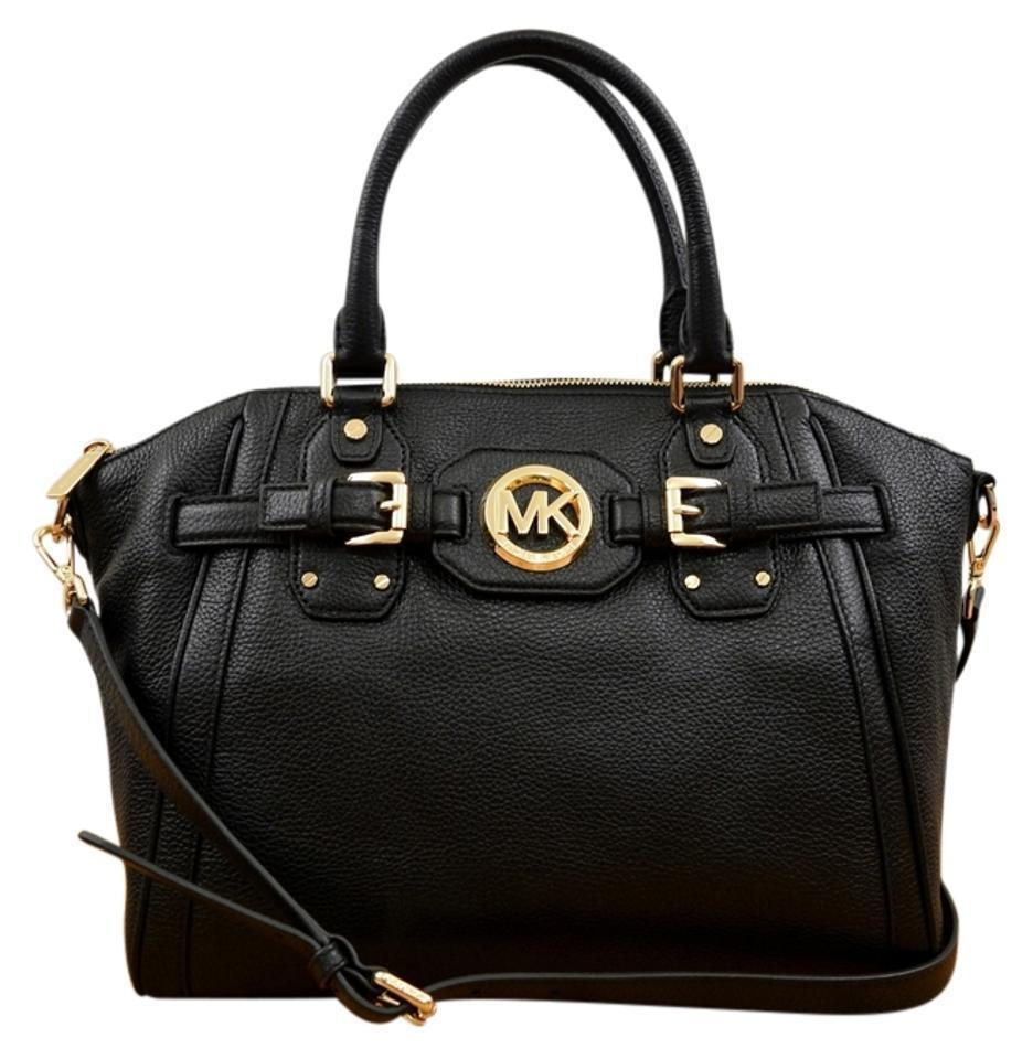 b59bf484b5a5 Michael Kors Hudson Large Tz Zip Convertible Tote Shoulder Black Leather  Satchel