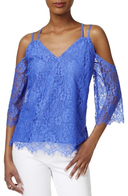 Item - Blue L Iii Womens Cold Shoulder Lace Pullover Blouse Size 12 (L)