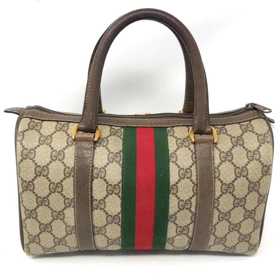 19924c13a5a Gucci Boston Vintage Doctor Gg Monogram Brown Leather Canvas Satchel ...