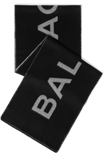 Item - Black Intarsia Cashmere and Wool-blend Scarf/Wrap