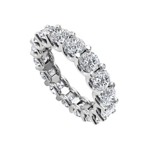 DesignByVeronica Round Cubic Zirconia 925 Silver Wedding Eternity Band