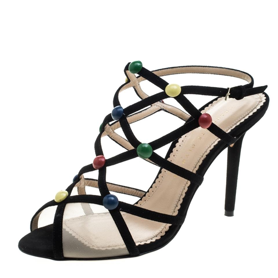 Charlotte Olympia Black Suede Multicolor and Mesh Spot On Multicolor Suede Stud Embelli Sandals 035ec7