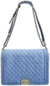 Chanel Shoulder Jean blue Clutch