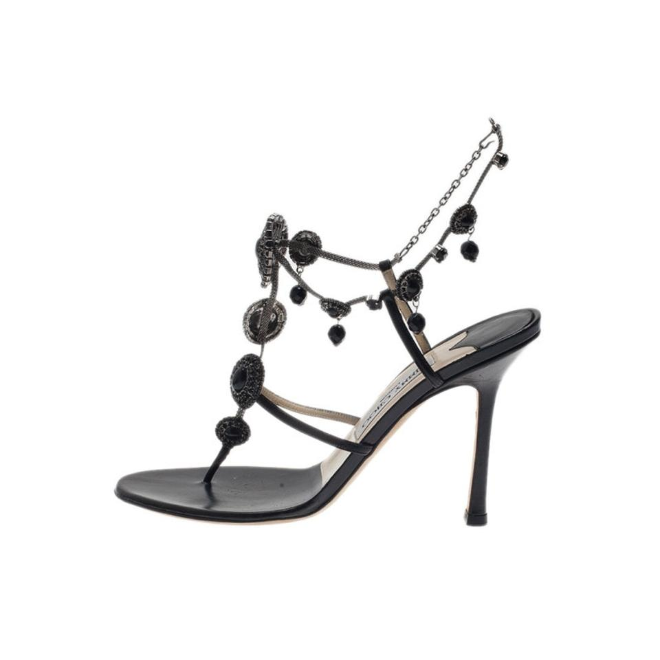 Jimmy Choo Black Satin Jeweled Sandals Size Eu 385 Approx Us 85 Clarette Crystal Brown 12345678910
