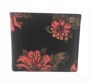 Coach Coach Men's Double Billfold Wallet Hawaiian Lilly Floral Red Multi
