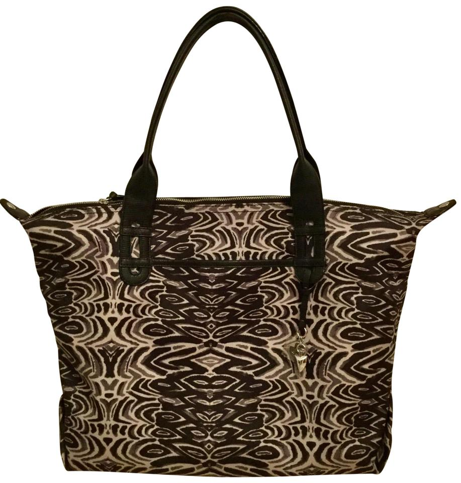 Stella Dot How Does She Do It In Painted Zebra Brown And White Coated Canvas Tote