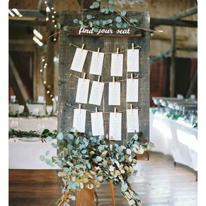 Reclaimed Wood Find Your Seat Display Board Reception Decoration