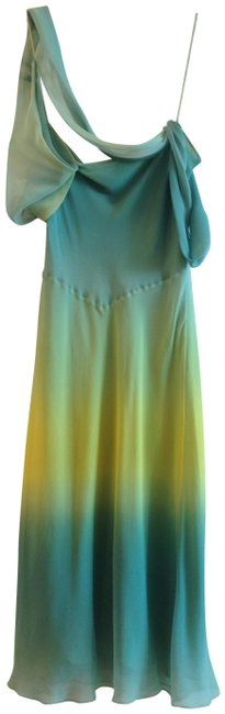 Item - Teal To Yellow Ombre Silk Draped Mid-length Cocktail Dress Size 6 (S)