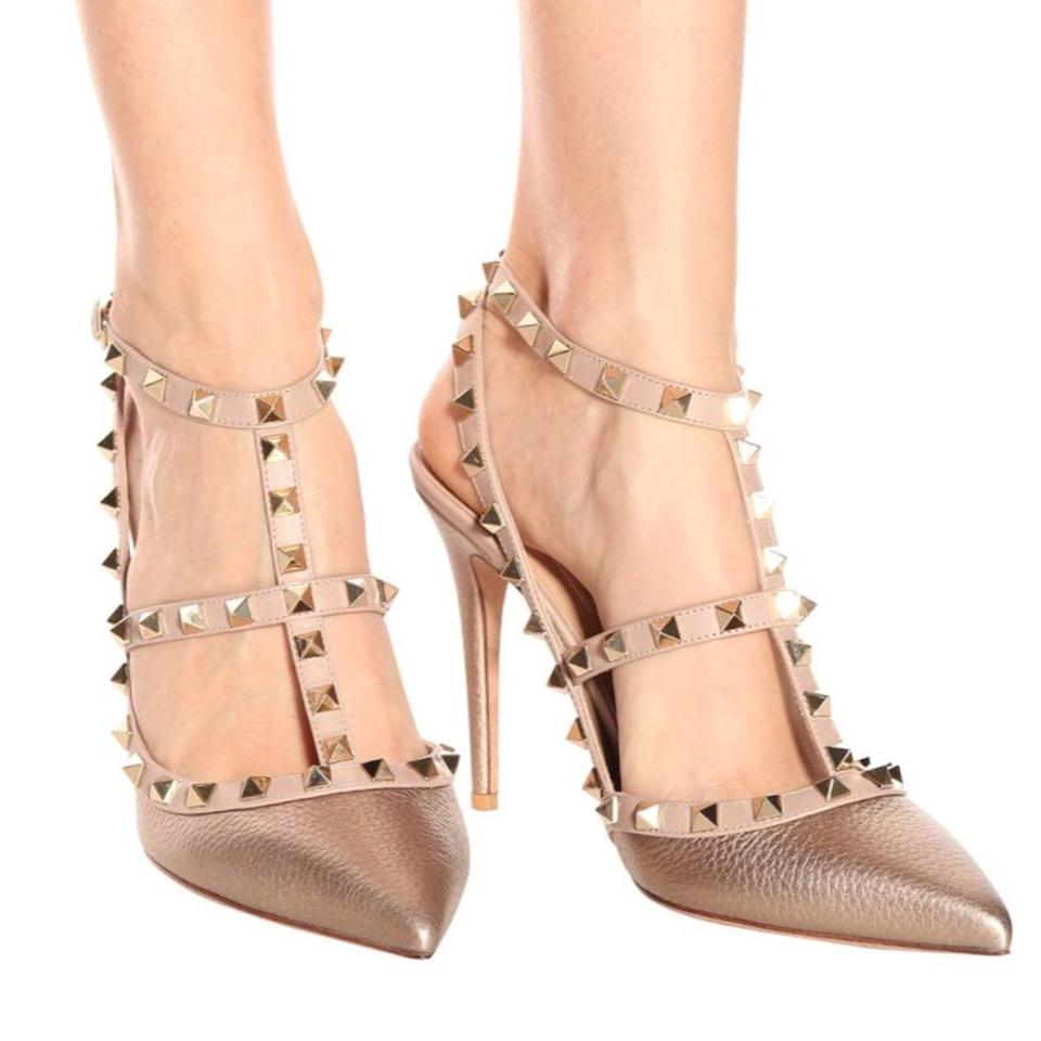 248def584e5c Valentino Gold Rose Gold Nude Metallic Rockstud Formal Shoes Size US ...