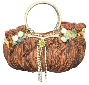 Mary Frances Embellished BROWN Clutch