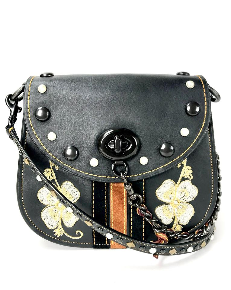 Coach 1941 Western Embroidered Dinky Black Leather Cross Body Bag ... a51174b1757bd