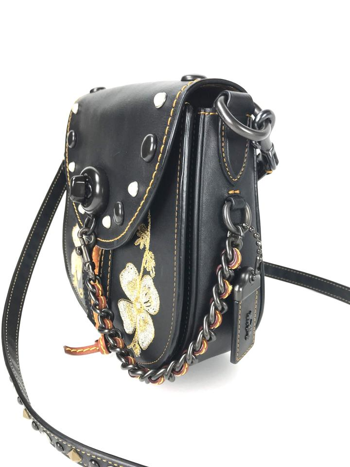 Coach 1941 Western Embroidered Y Black Leather Cross Body Bag 47 Off Retail