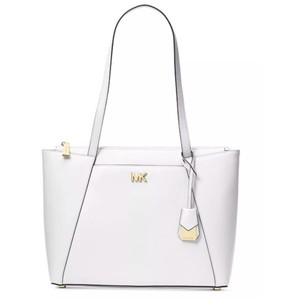 Michael Kors Yellow Maddie Leather Tote in Optic White