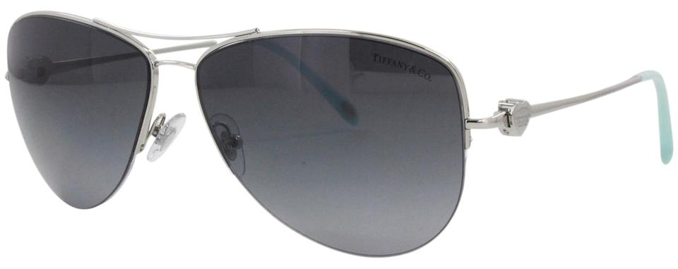 db578c64fa74 Tiffany   Co. Silver Blue Grey Tf 3021 Tf3021 Aviator Return To Heart Metal  Wire Polarized Sunglasses