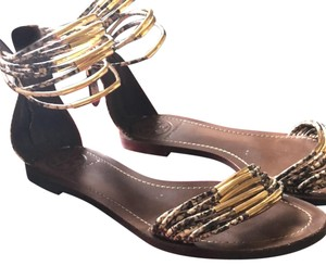 c97d1e6e6def Tory Burch Natural Snake Mignon Rings Flat Sandals Size US 7 Regular ...
