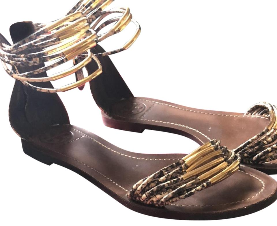 c8b2400c8749 Tory Burch Natural Snake Mignon Rings Flat Sandals Size US 7 Regular ...