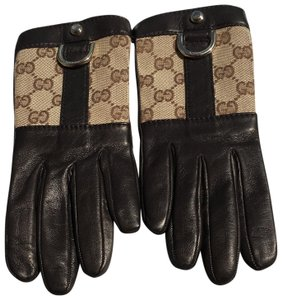 Gucci Gloves, Monogram GG And Calfskin, Size 6.50 (Small)