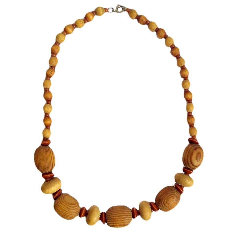 Vintage Wood Bead Necklace Vintage Wooden Beads Beaded Antique Retro 50s  60s ...