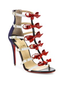 Christian Louboutin Denim Girlistrappi Gold Hardware Bow Patent Leather Red Sandals