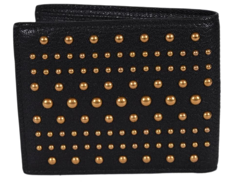 40e60ab02bb Gucci New Gucci Men s 451176 Black Leather Studded Feline Head Bifold  Wallet Image 6. 1234567