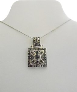 Other .925 Sterling Silver Square Marcasite Pendant