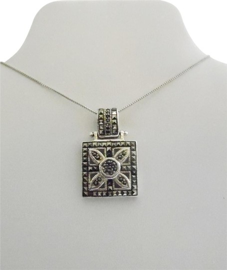 Preload https://img-static.tradesy.com/item/2409574/925-sterling-silver-square-marcasite-pendant-necklace-0-1-540-540.jpg