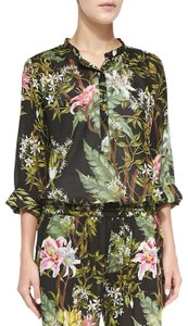 Étoile Isabel Marant Floral Tropical Onesie Jumpsuit Top Black, Pattern