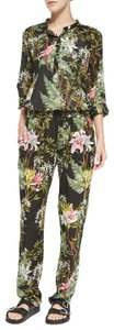 Étoile Isabel Marant Tropical Beach Romper Relaxed Pants Black, Pattern