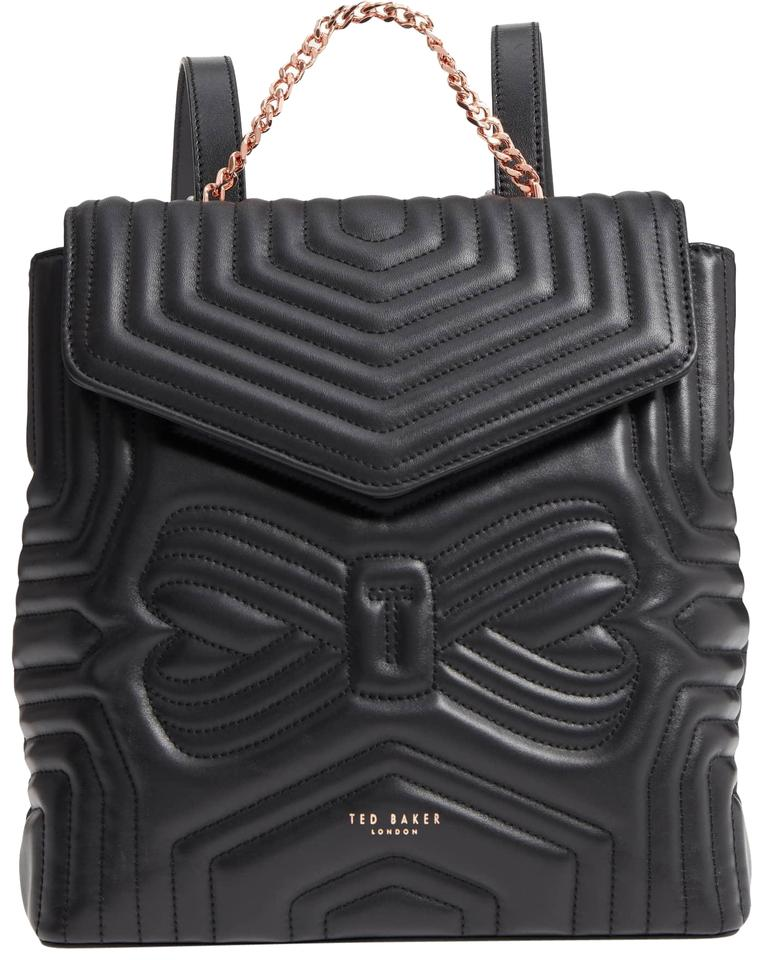 e5329606ddcf Ted Baker Quilted Bow Leather Compact Structured Designer Backpack Image 0  ...
