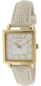 Timex T2P379 Womens Classics Gold Leather Band With Silver Analog Dial Watch