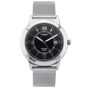 Timex T2P519 Classics Men's Silver Steel Band With Black Analog Dial Watch