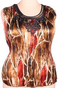 Essentials by Milano Silky Accordion Pleats Sleeveless Embellished Top Multicolor