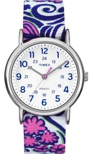 Timex TW2P90200 Women's Floral Nylon Band With White Analog Dial Watch NWT