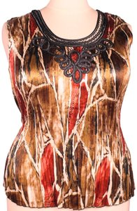 Essentials by Milano Silky Accordion Pleats Sleeveless Embellished Plus Size Top Multicolor