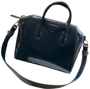 3f9123654ced Added to Shopping Bag. Givenchy Shoulder Bag. Givenchy Small Antigona  Creased Leather Patent Deep Blue ...