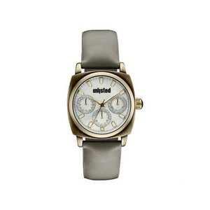 Unlisted by Kenneth Cole 10030911 Women Grey Leather Bracelet With White Analog Dial Watch