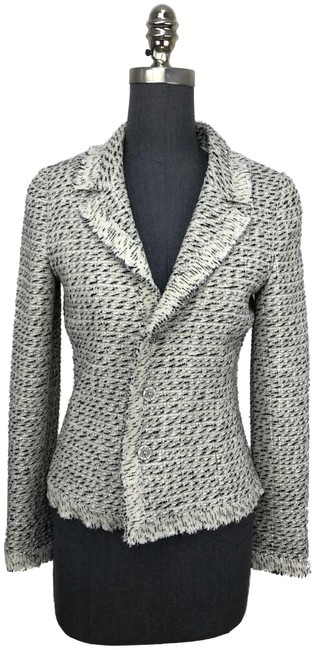 Item - Ivory 04a Frayed Trim Tweed Jacket Size 4 (S)