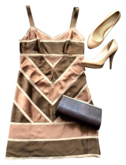 Item - Chocolate Brown and Soft Pink Rn Short Cocktail Dress Size 4 (S)