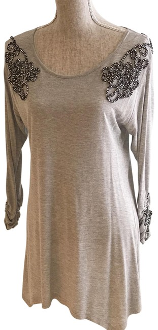 Item - Gray Embellished with Black and Siiver Cord (Medium) Tunic Size 8 (M)