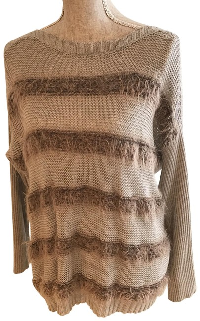 Item - XS Faux Fur-embellished (Size Xs/S) Gray and Brown/Taupe Sweater