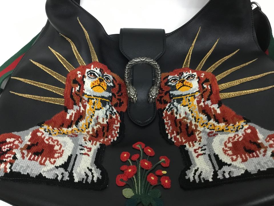 3bcaf64cd Gucci Dionysus Maxi Extra Large with Dogs Embroidery Black Leather ...