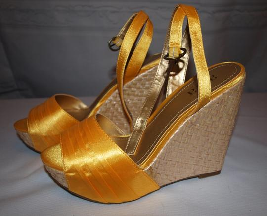 a.n.a Party Make A Entrance Sexy Satin Prom Yellow Wedges Image 6