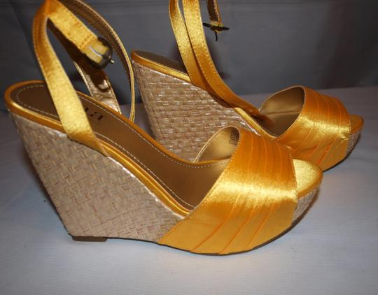 a.n.a Party Make A Entrance Sexy Satin Prom Yellow Wedges Image 8