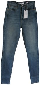 RE/DONE High Rise Button Front Stretch Skinny Jeans-Medium Wash