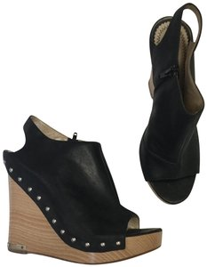 Jean-Michel Cazabat Wood Studded Leather Peep Toe Black Wedges