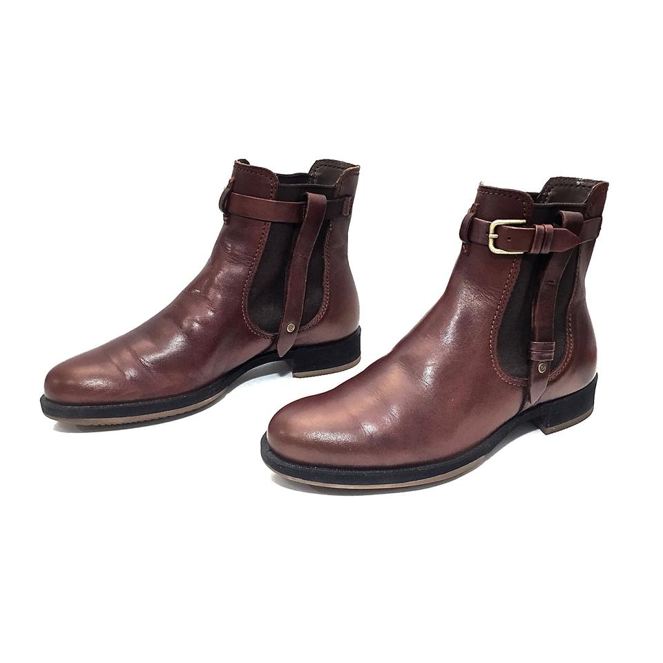 4493f3d3568 Ecco Brown Leather Chelsea Ankle W  Straps Gold Buckle Boots Booties ...