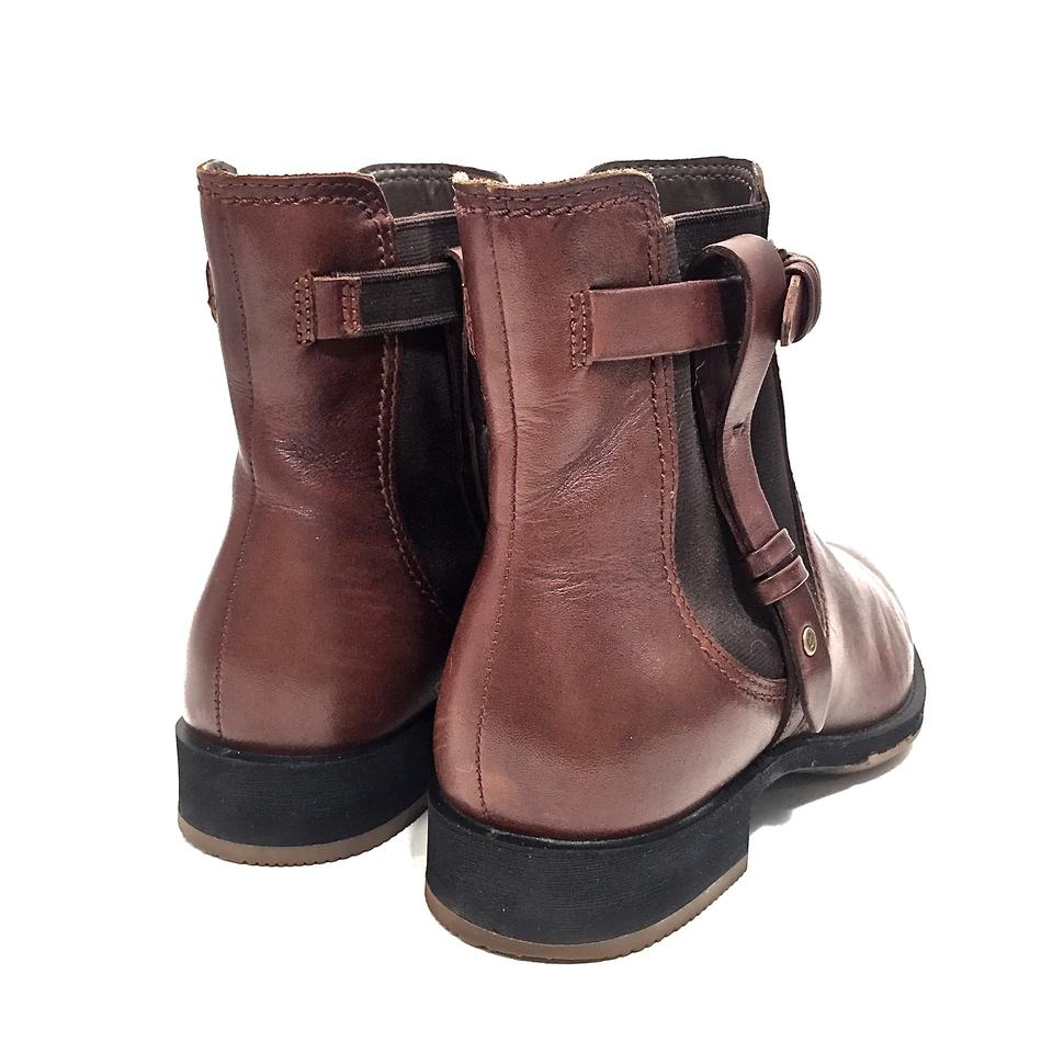 11c83495bc9 Ecco Brown Leather Chelsea Ankle W  Straps Gold Buckle Boots Booties ...