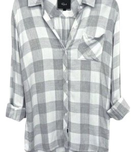 Rails Button Down Shirt Grey and white